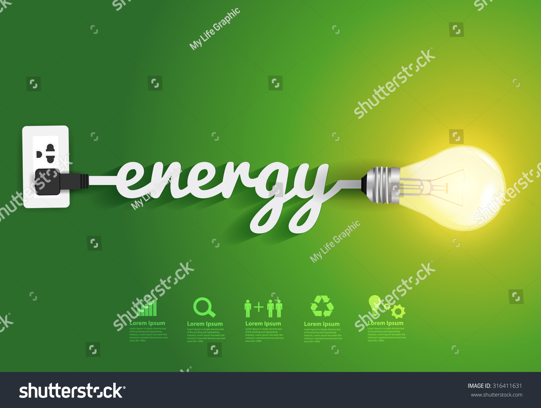 Energy Saving Simple Light Bulbsgreen Background Stock