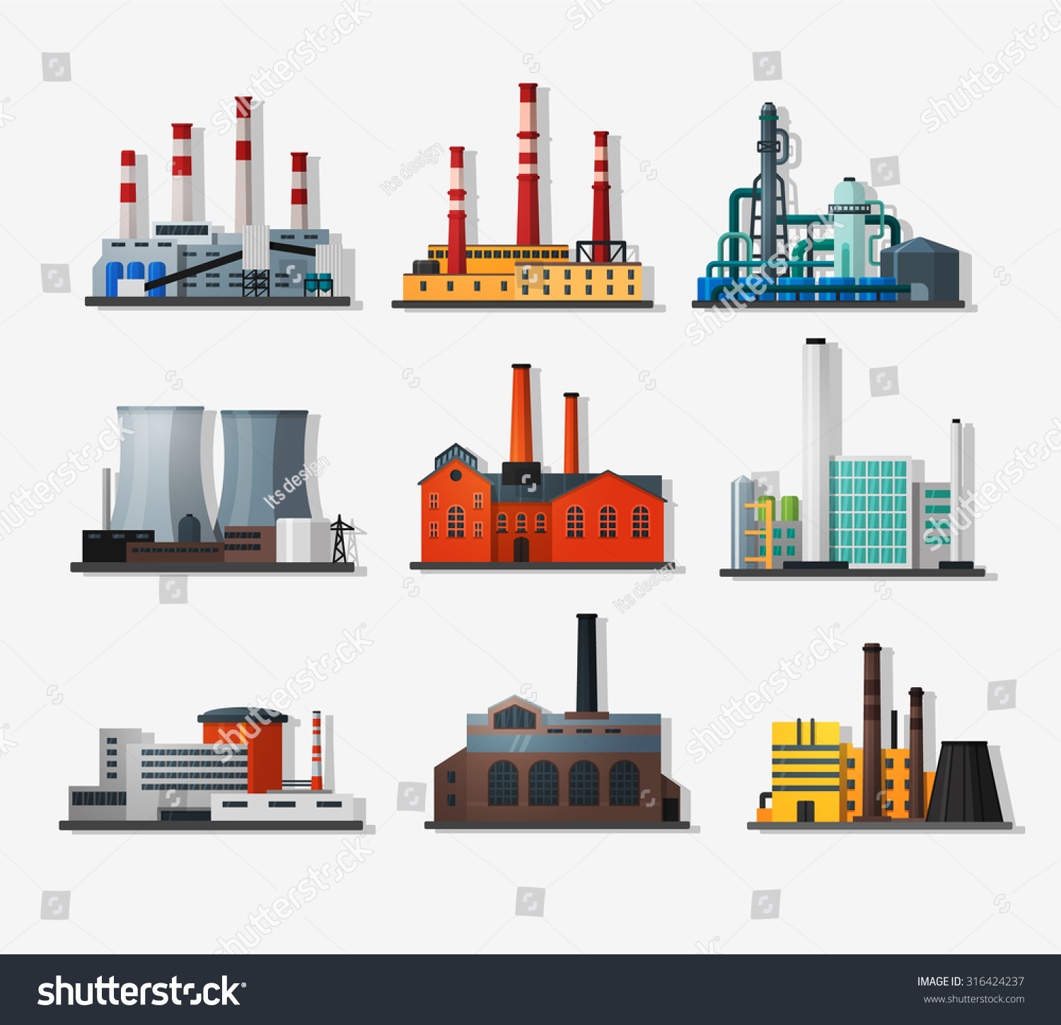 Power Plant Icons Flat Style Long Stock Vector Royalty Free Nuclear Diagram Pictures In And Shadow Chemical
