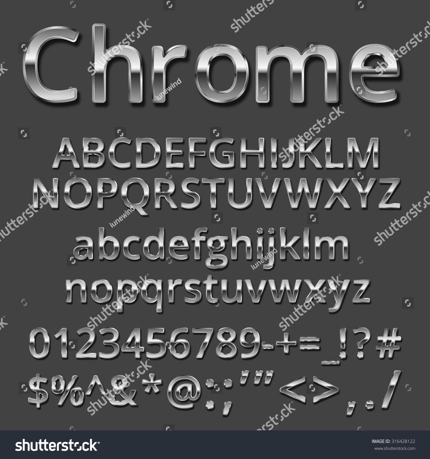 Vector Chrome Silver Metallic Font Set Stock Vector Royalty Free