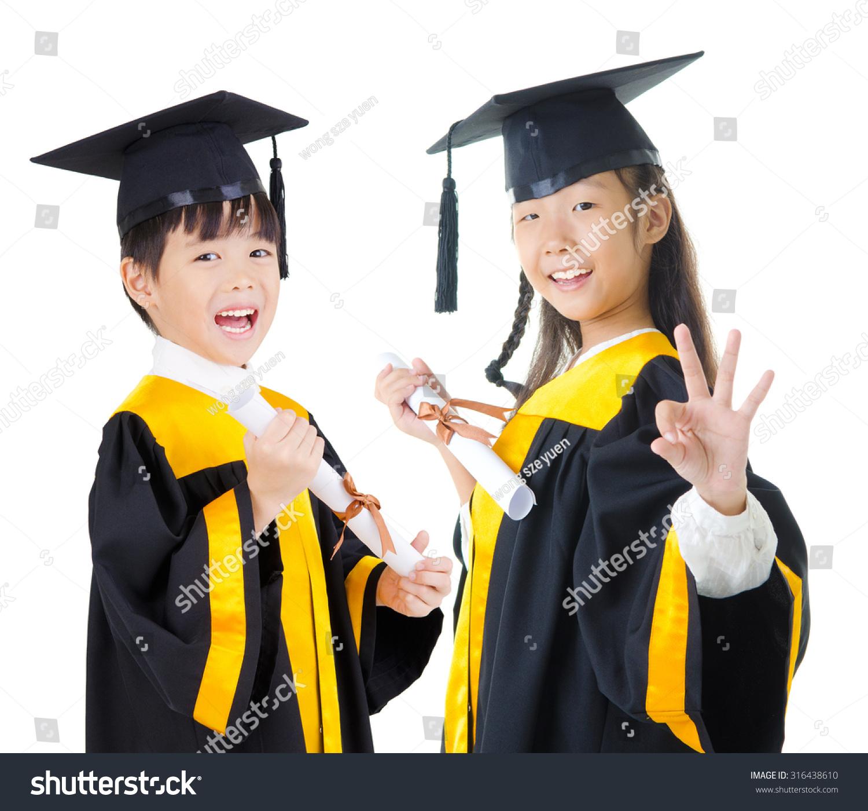 Asian Kids Graduation Gown Stock Photo (Edit Now) 316438610 ...