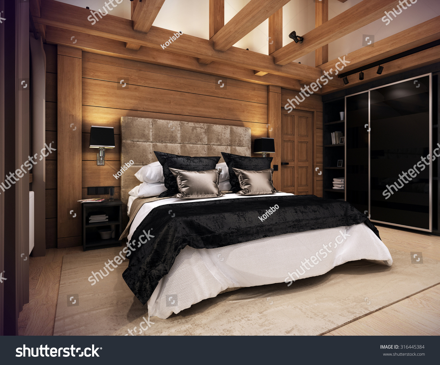 cozy bedroom. The Cozy Bedroom Is In Attic Of A Chalet. Huge Bed With Numerous Pillows