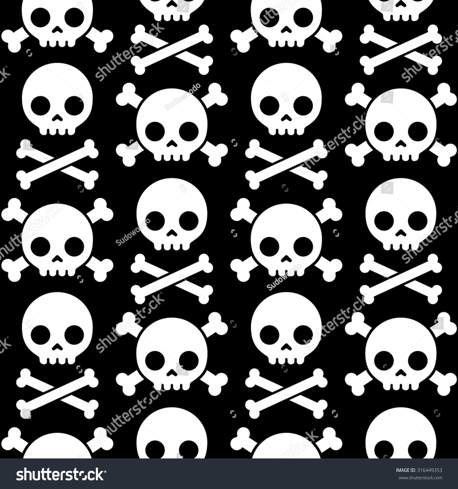skull crossbones seamless pattern scary halloween stock