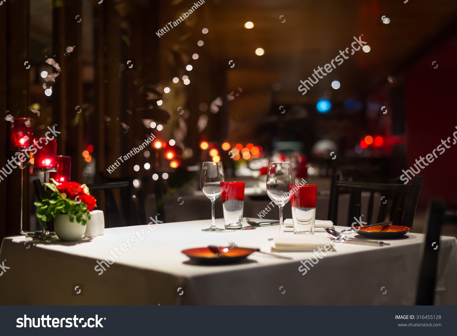 Romantic Dinner Setup Red Decoration With Candle Light In