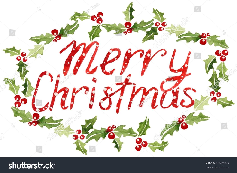 Merry Christmas Mistletoe Berry Frame Watercolor Stock Illustration ...