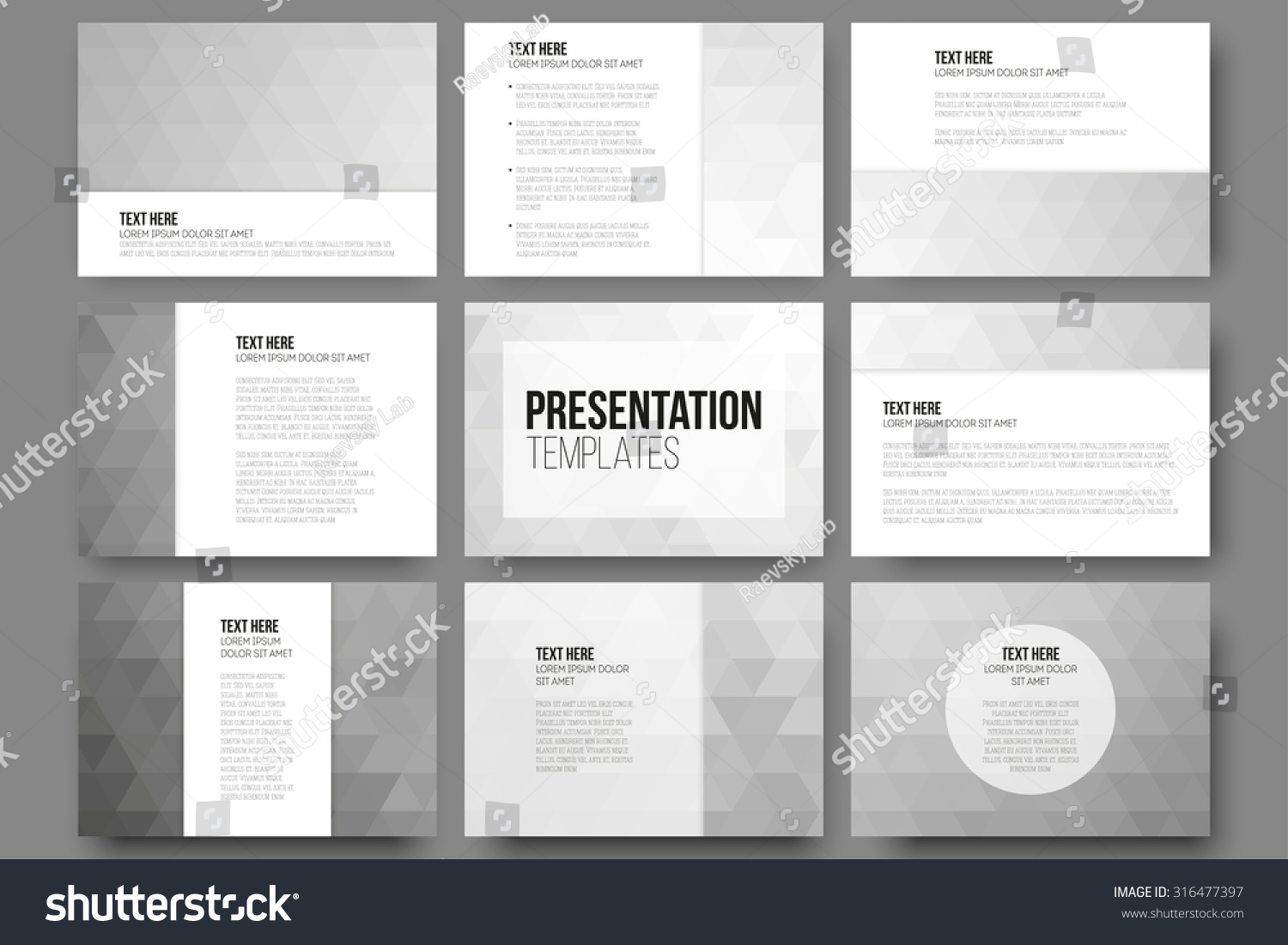 Set of 9 templates for presentation slides Abstract gray backgrounds Triangle design vectors