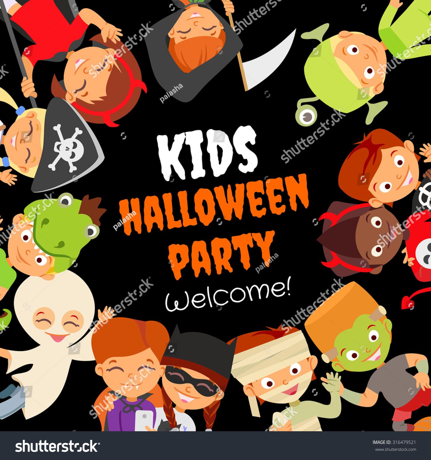 Funny Halloween Party Design Concept Happy Stock Vector 316479521 ...