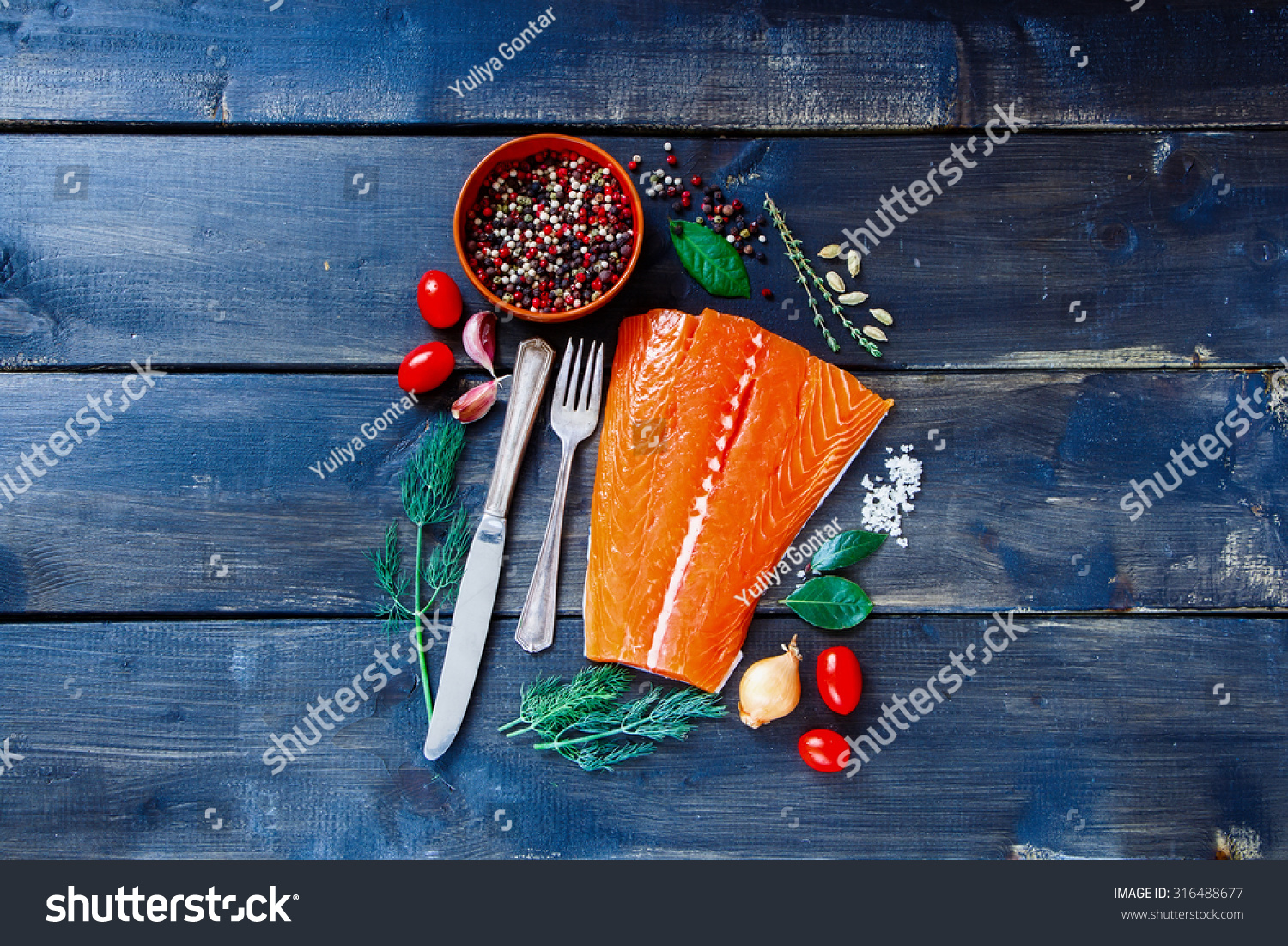 Food background fresh salmon fish on stock photo 316488677 for Aromatic herb for fish