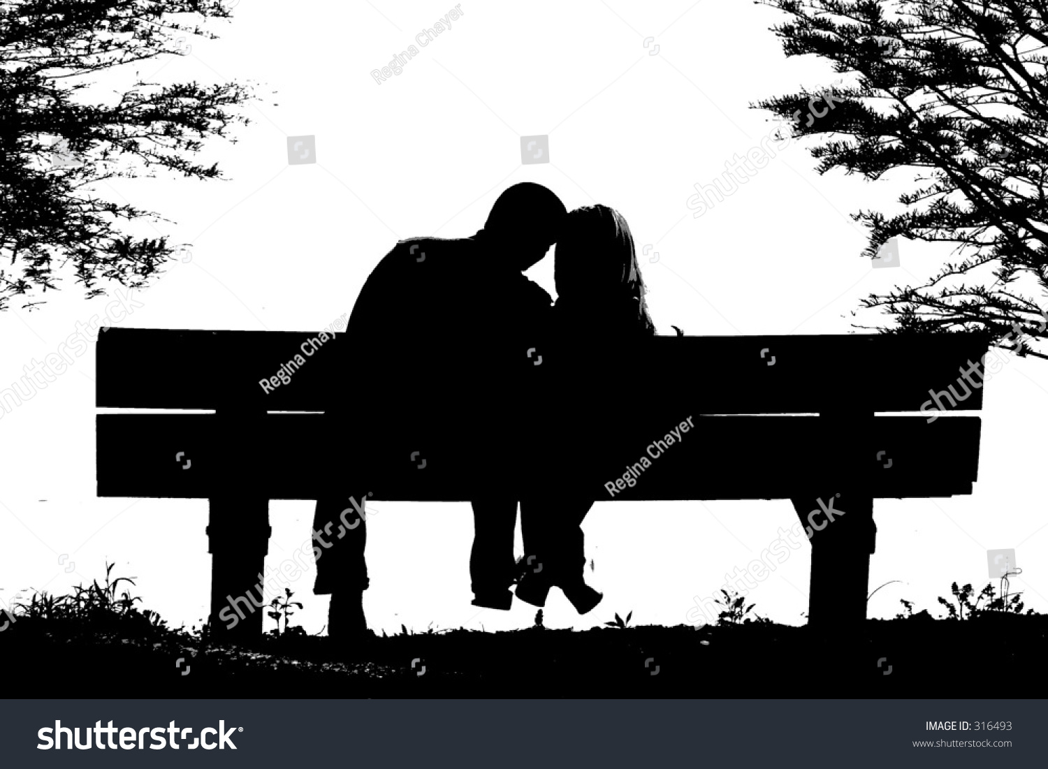 Silhouette Couple On Park Bench Stock Photo 316493 ...