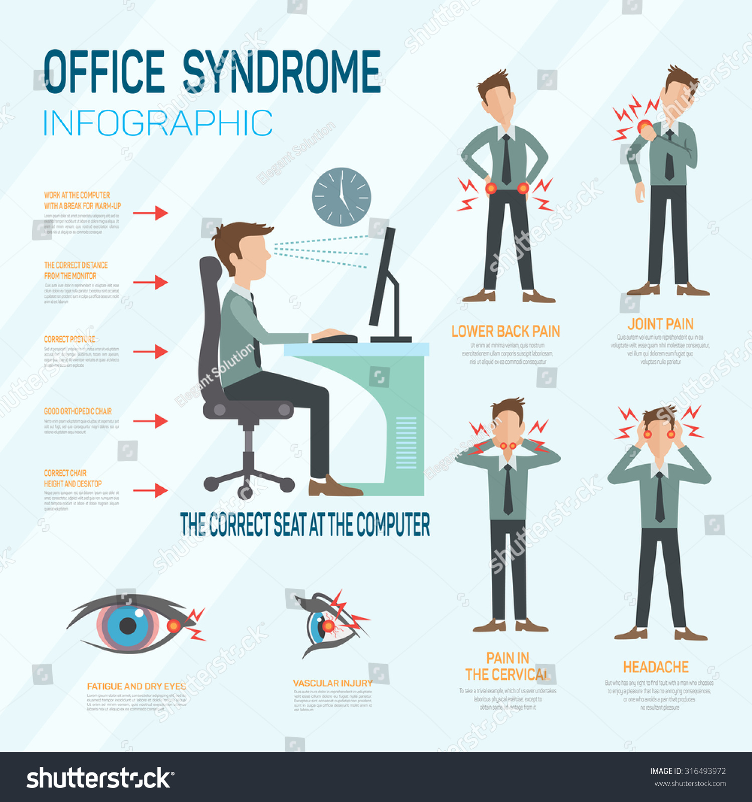 Infographic Office Syndrome Template Design Concept