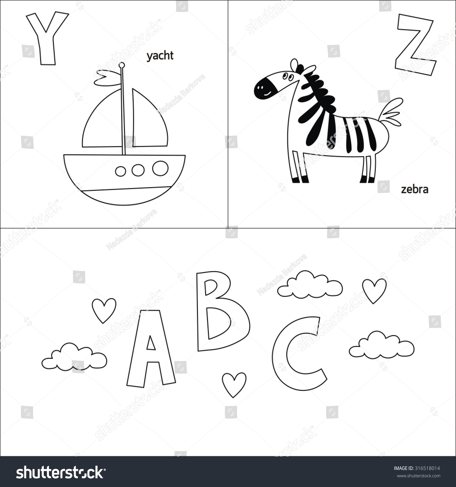 abc vector coloring page kids stock vector 316518014 shutterstock