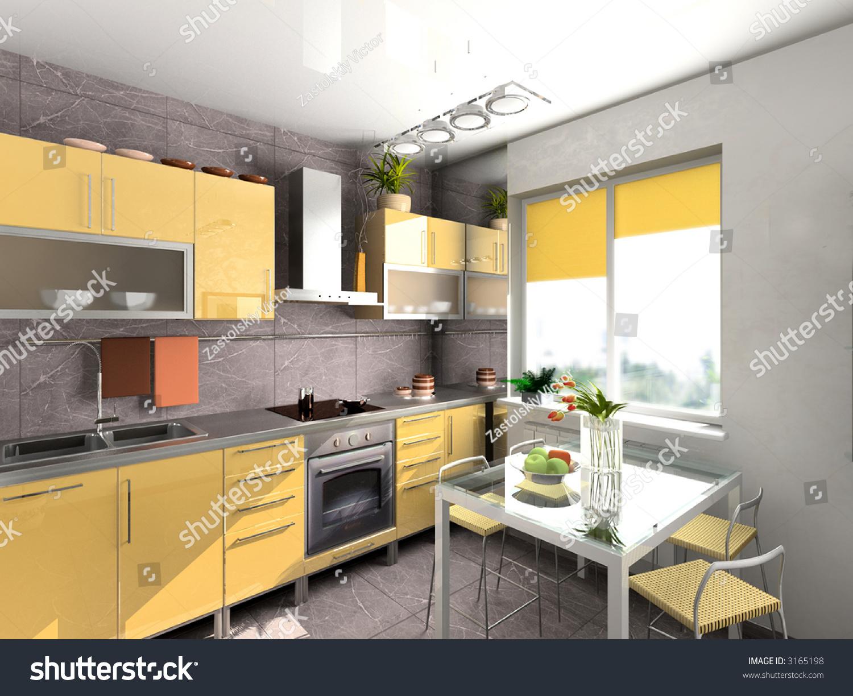 The Modern Kitchen Interior Design 3d Rendering Stock Photo 3165198 Shutterstock