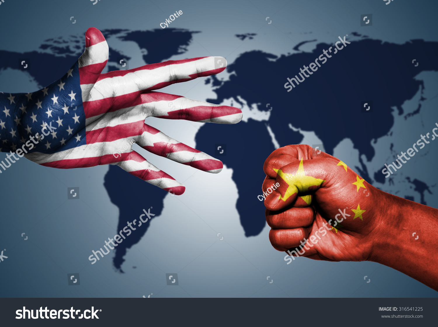 Usa china world powers rockpaperscissors on stock photo 316541225 usa and china world powers rock paper scissors on world map background gumiabroncs Gallery