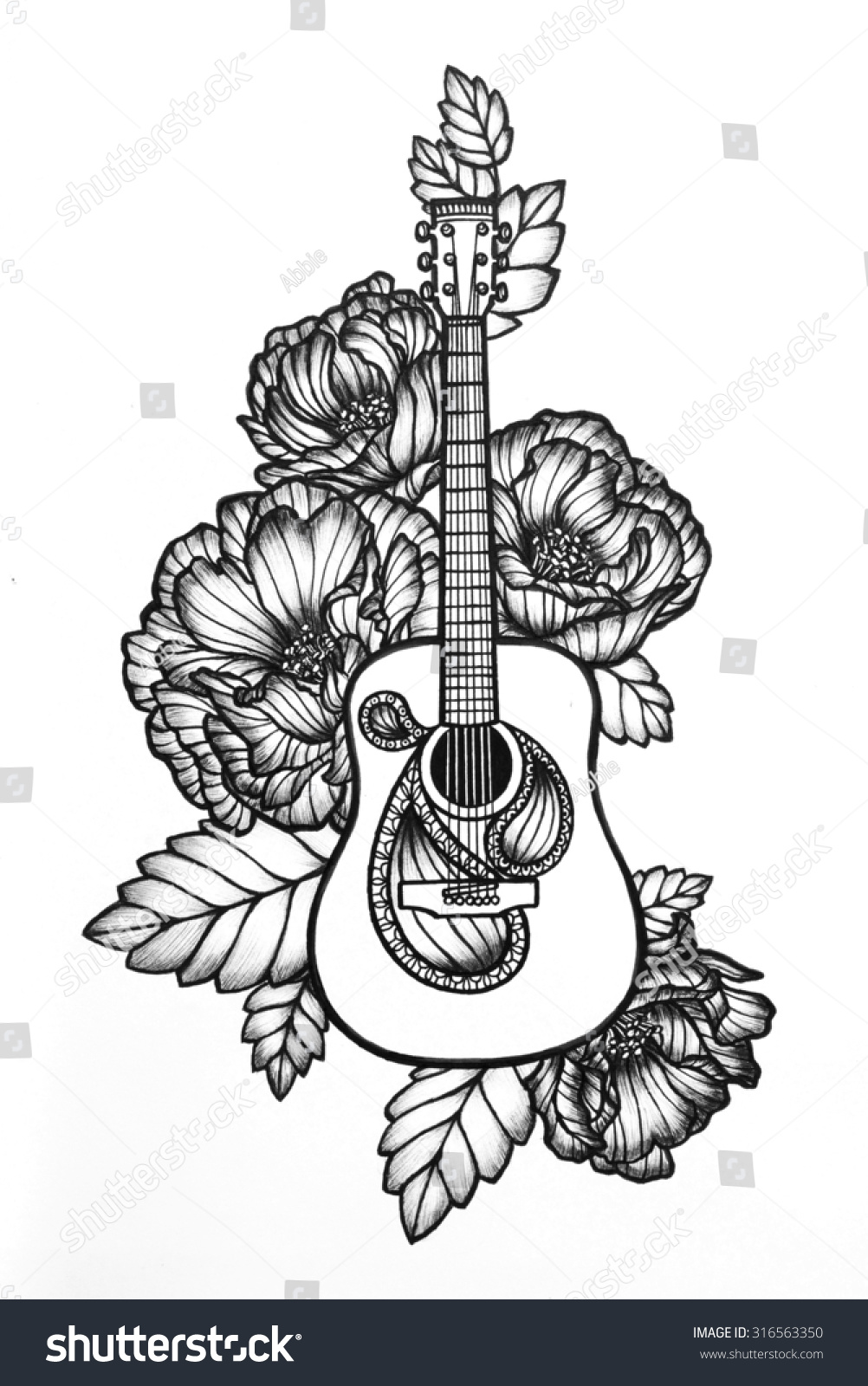 Guitar With Roses Hand Drawn Acoustic Art Design Concert Poster Or Band Website