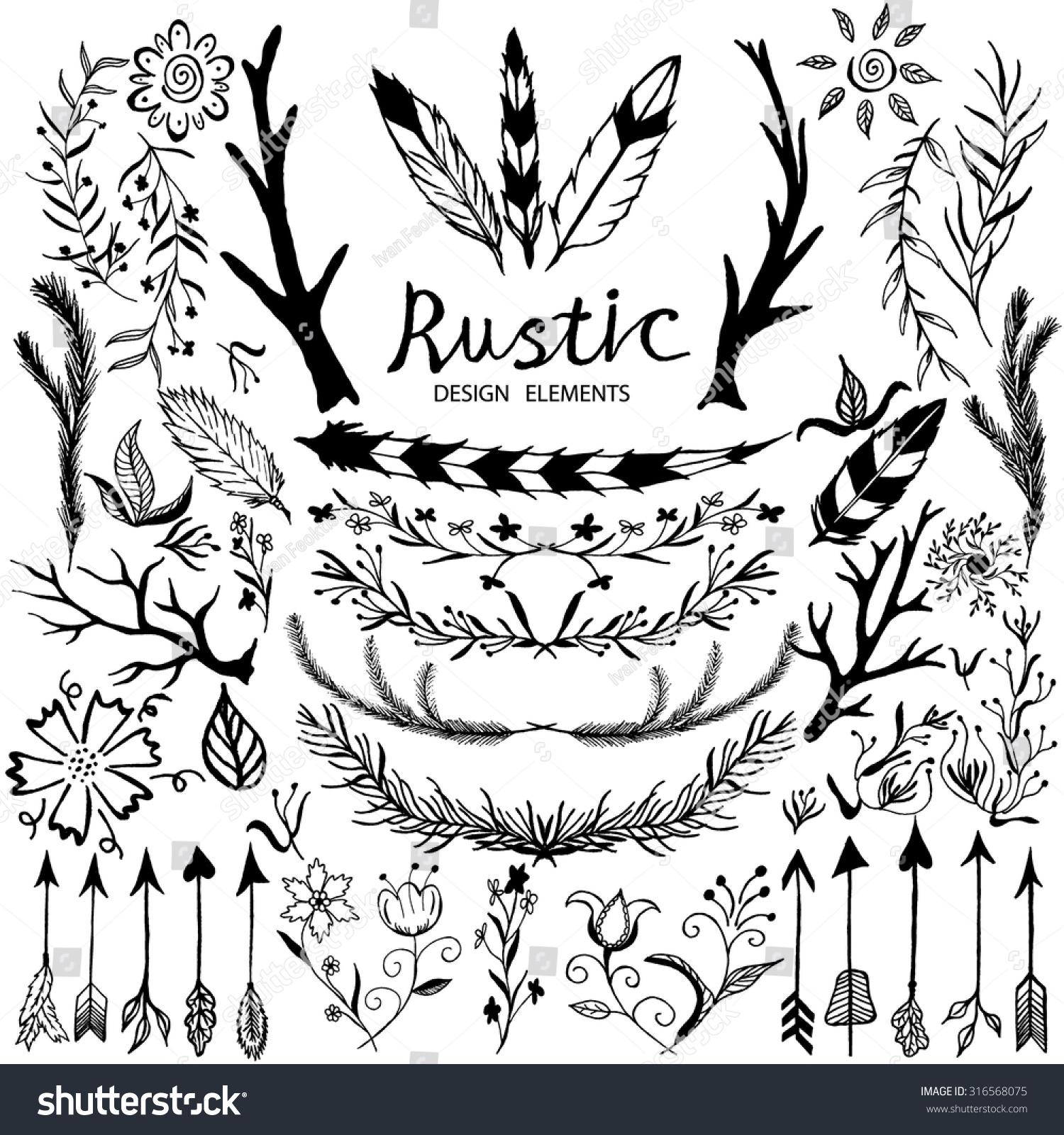 Set Of Black Flower Design Elements Vector Illustration: Handdrawn Vector Floral Design Elements Rustic Stock