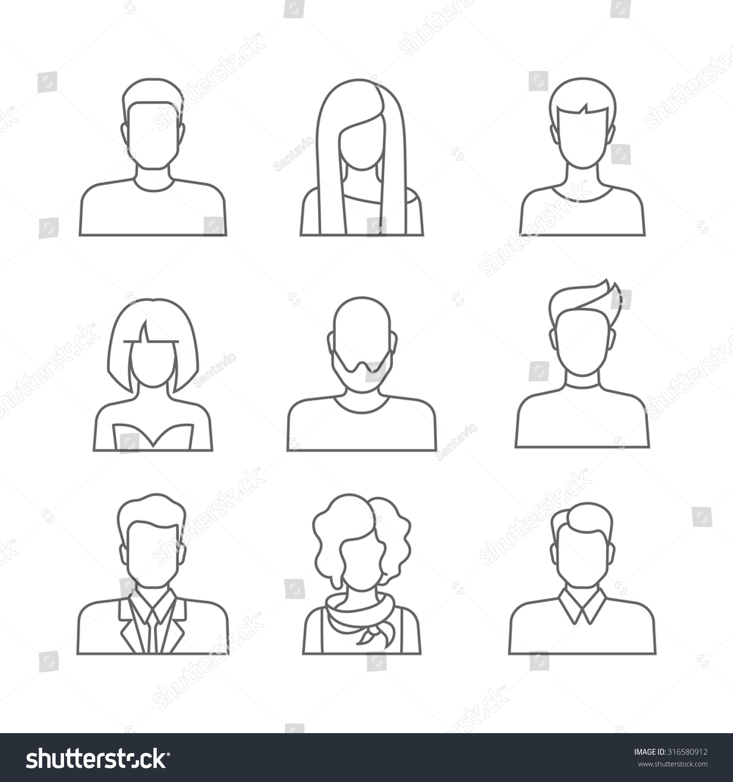 Line Art Website : Set casual people icons lineart outline stock vector