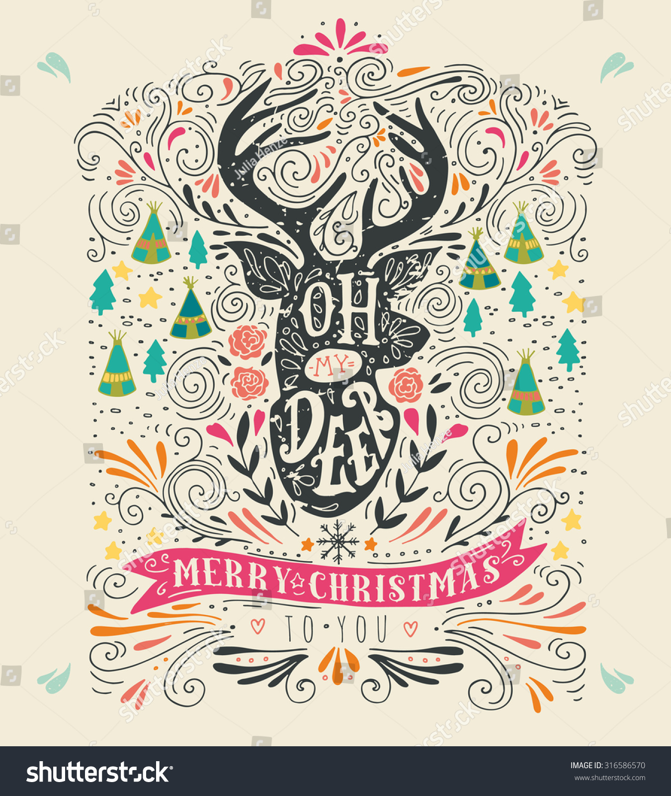 Vintage Merry Christmas.Oh My Deer Merry Christmas Vintage Stock Vector Royalty