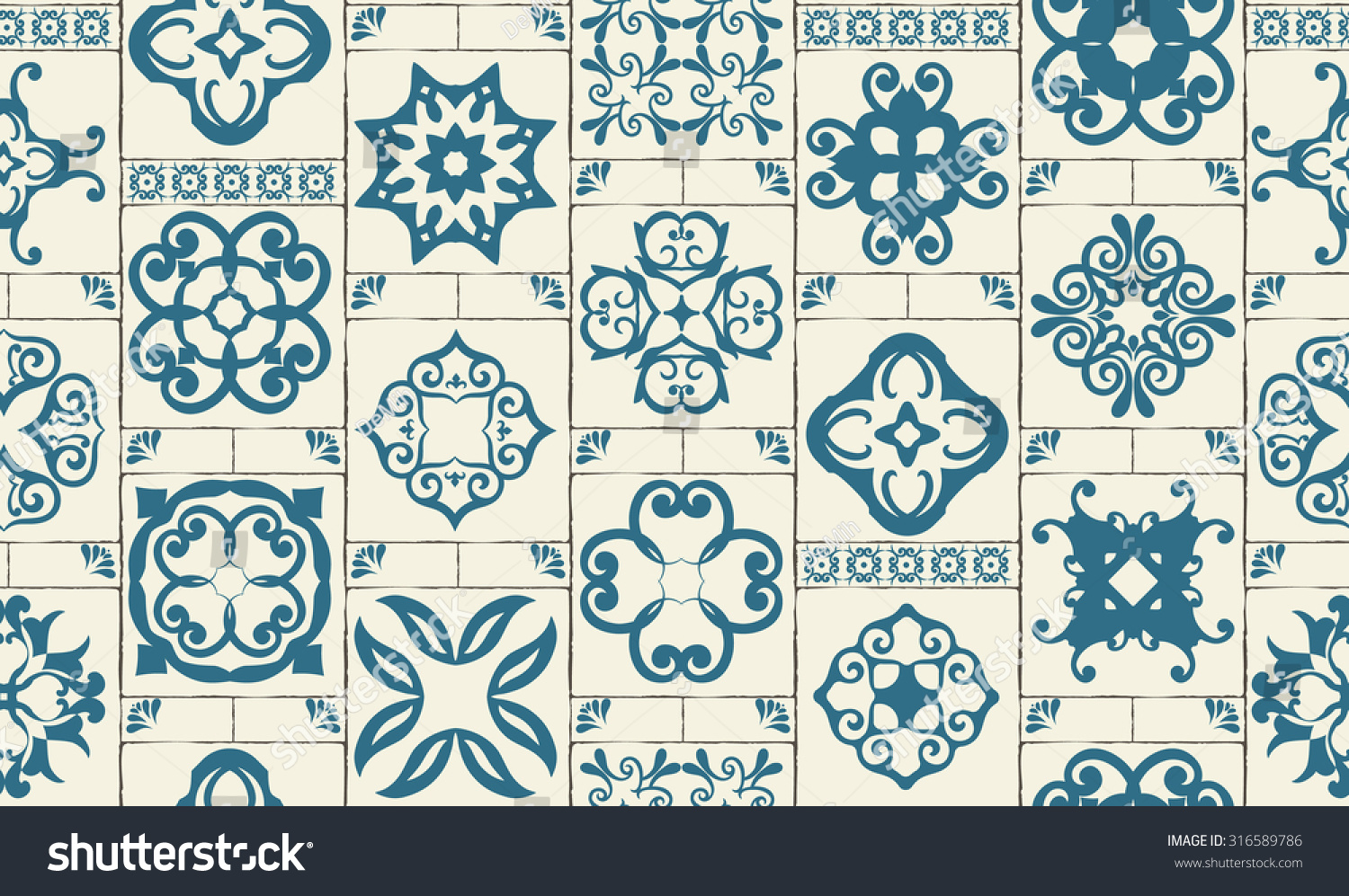 Moroccan Style Kitchen Tiles Classic Seamless Patchwork Pattern Moroccan Tiles Stock Vector