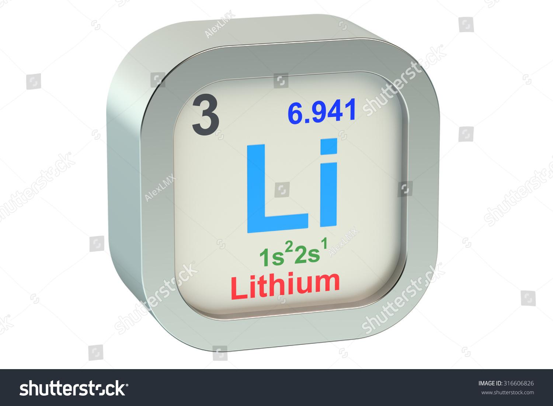 Lithium Element Symbol Isolated On White Stock Illustration