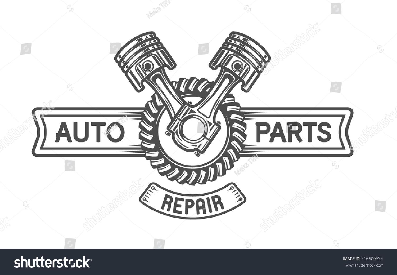 Repair Service Gear Pistons Auto Emblem Stock Vector ...