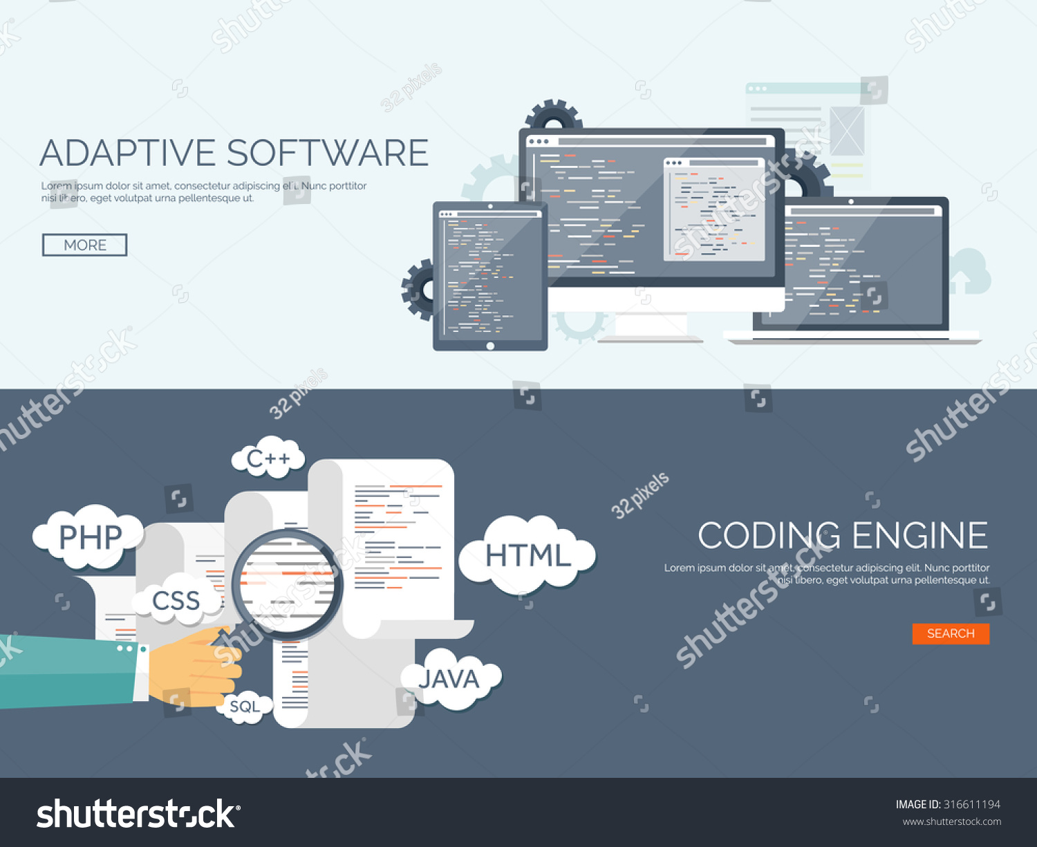 Vector Illustration Flat Background Coding And