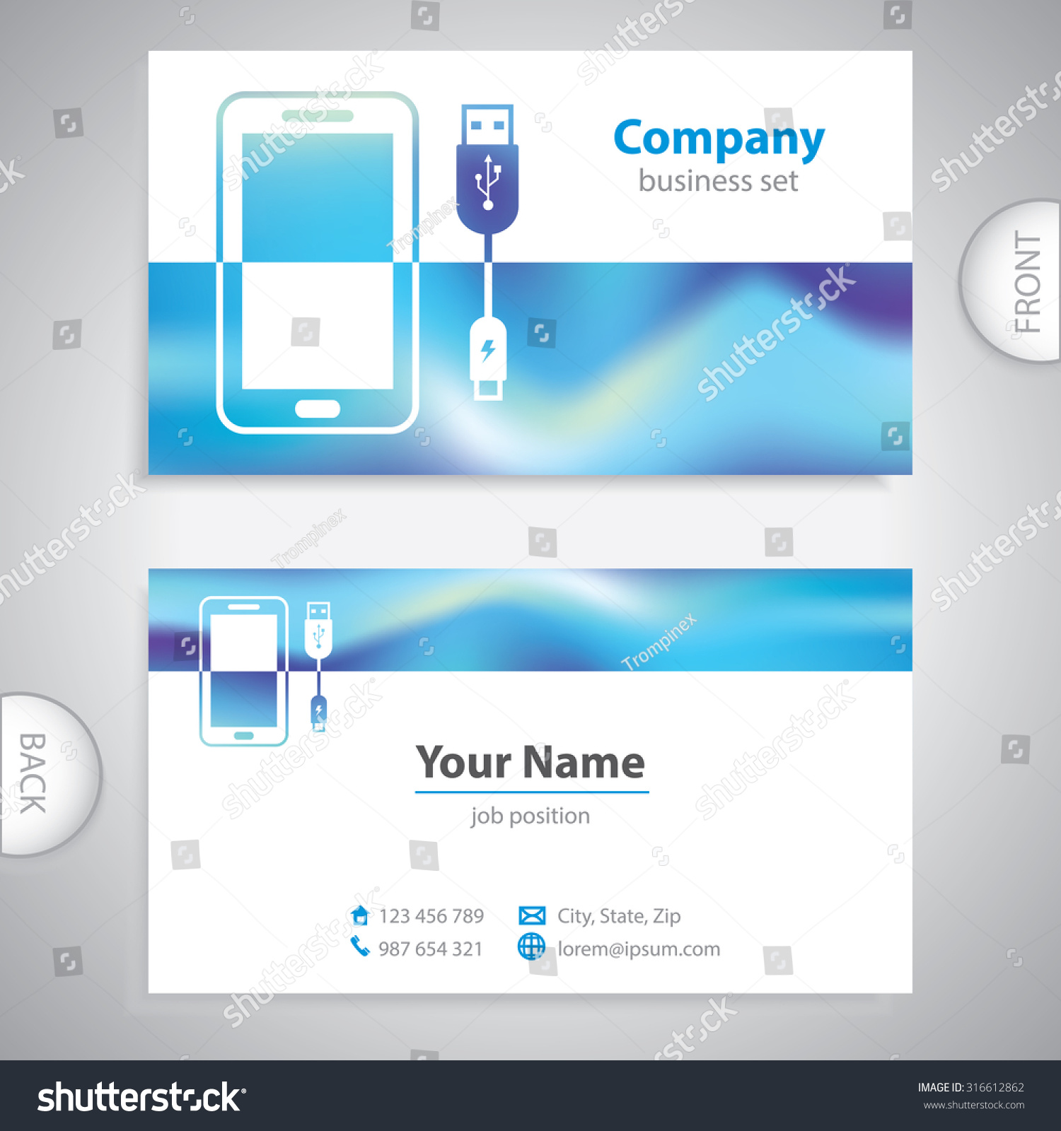 Business Card Mobile Accessories Consumer Electronics Stock Vector ...