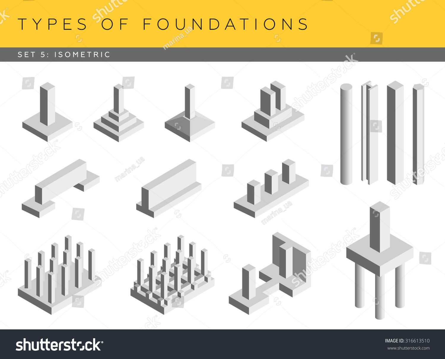 Types Foundations Set Vector Architectural Blueprints