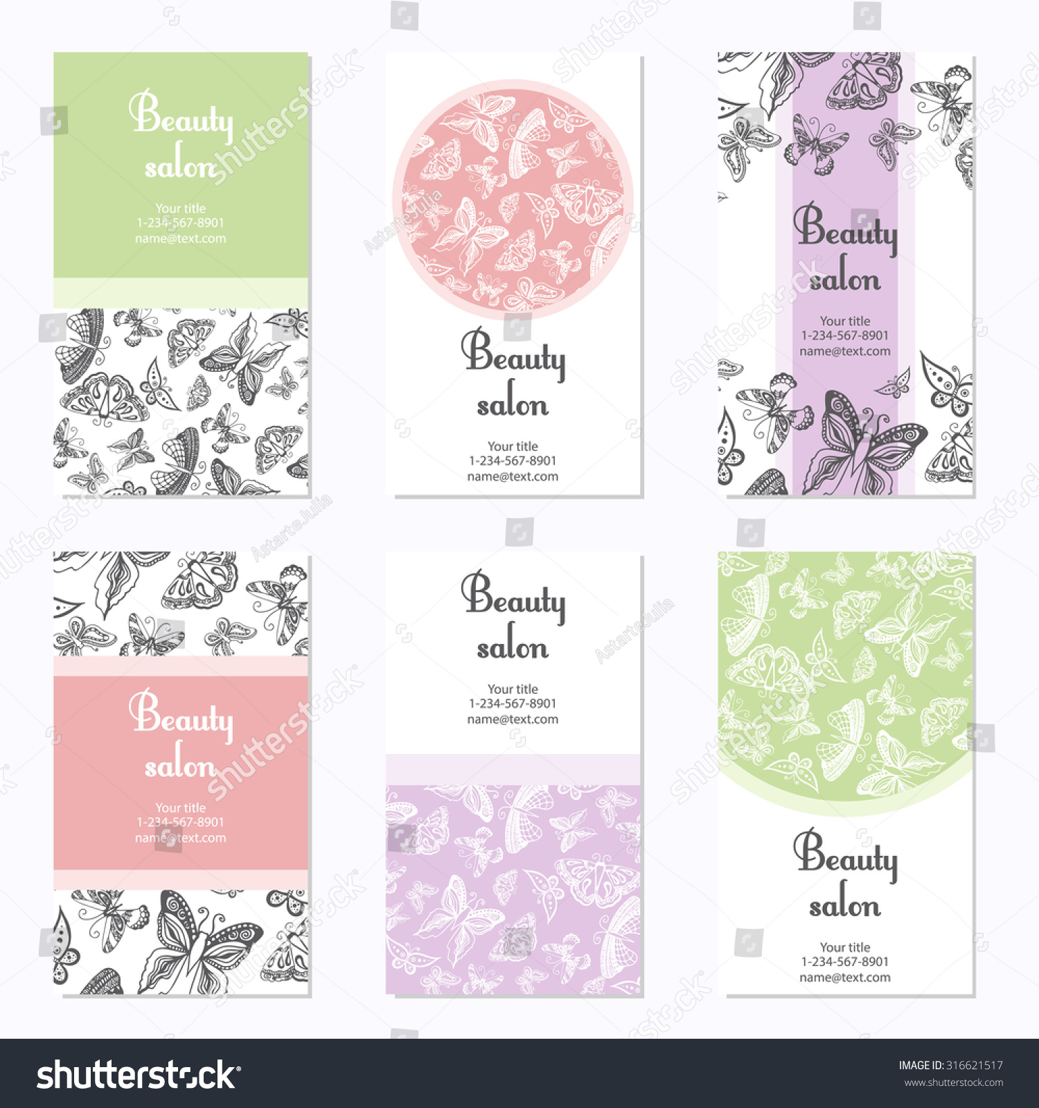 Set Beauty Salon Business Cards Butterfly Stock Photo (Photo, Vector ...
