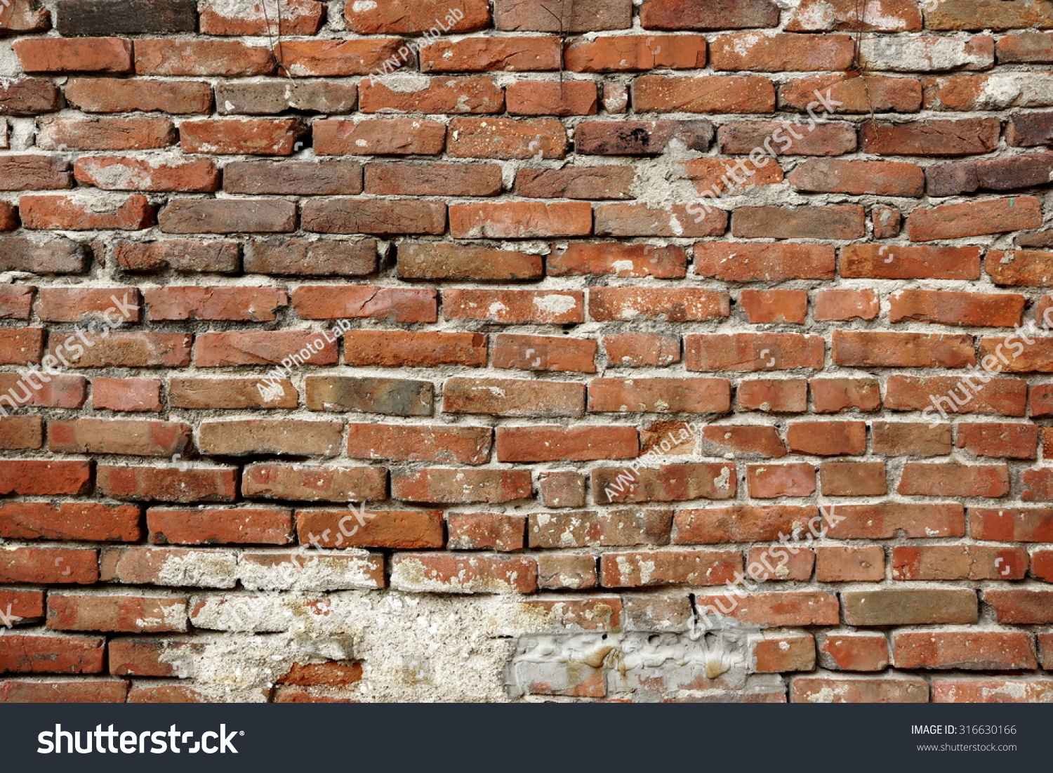 Old Uneven Crumbling Red Brick Wall Stock Photo 316630166 Shutterstock