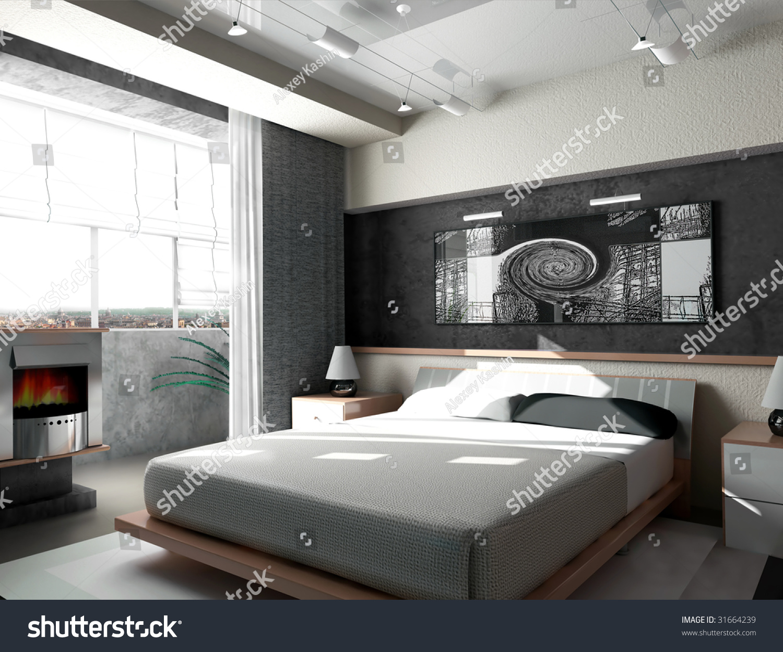 Interior of a sleeping room 3d render. Interior Sleeping Room 3d Render Stock Illustration 31664239