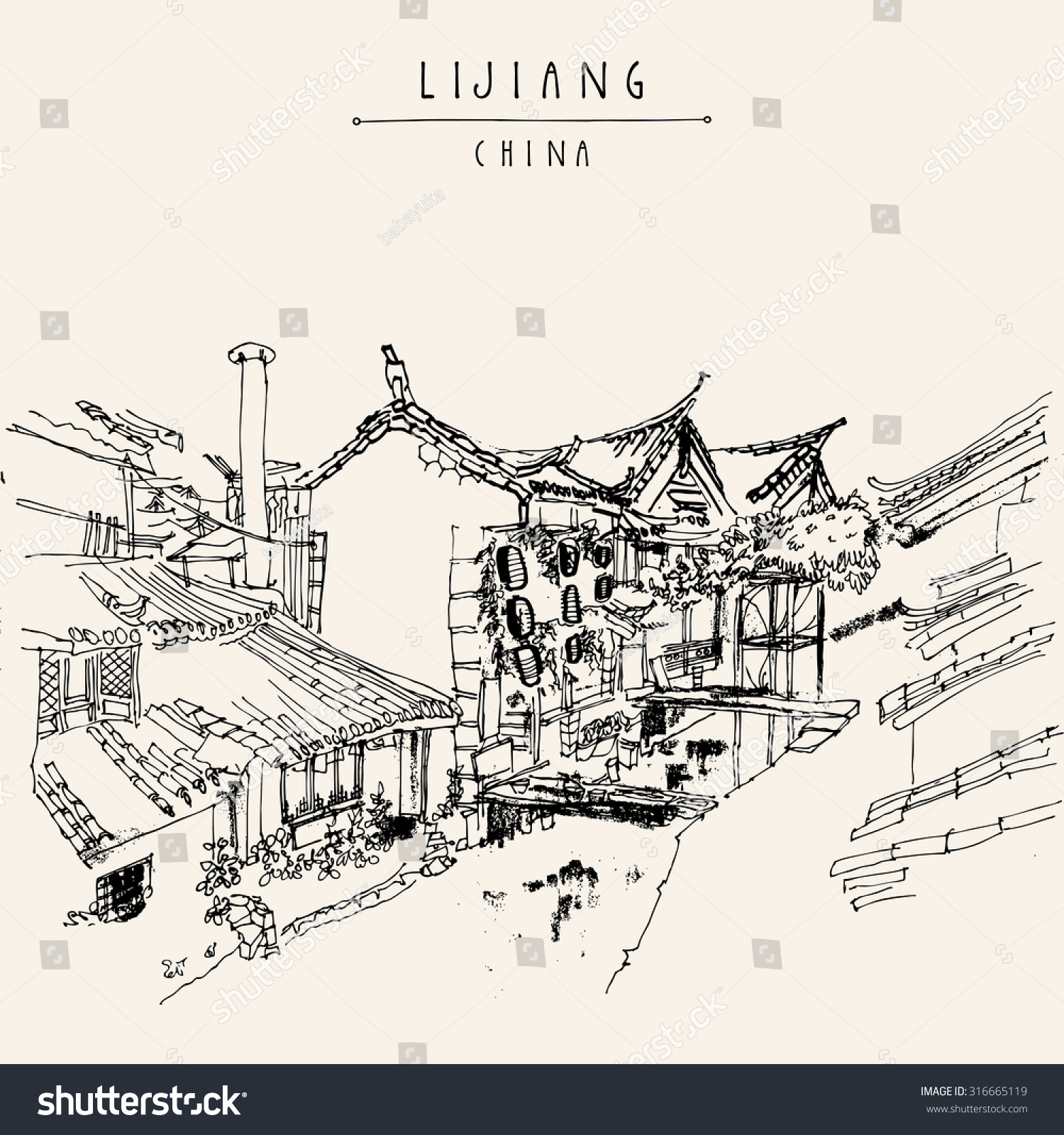 Traditional Chinese Houses On River Lijiang Stock Vector