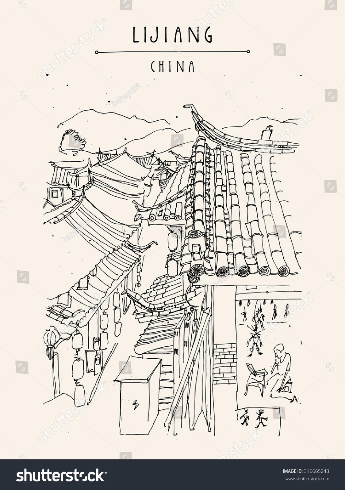 Traditional Chinese Houses Lijiang Yunnan China Stock