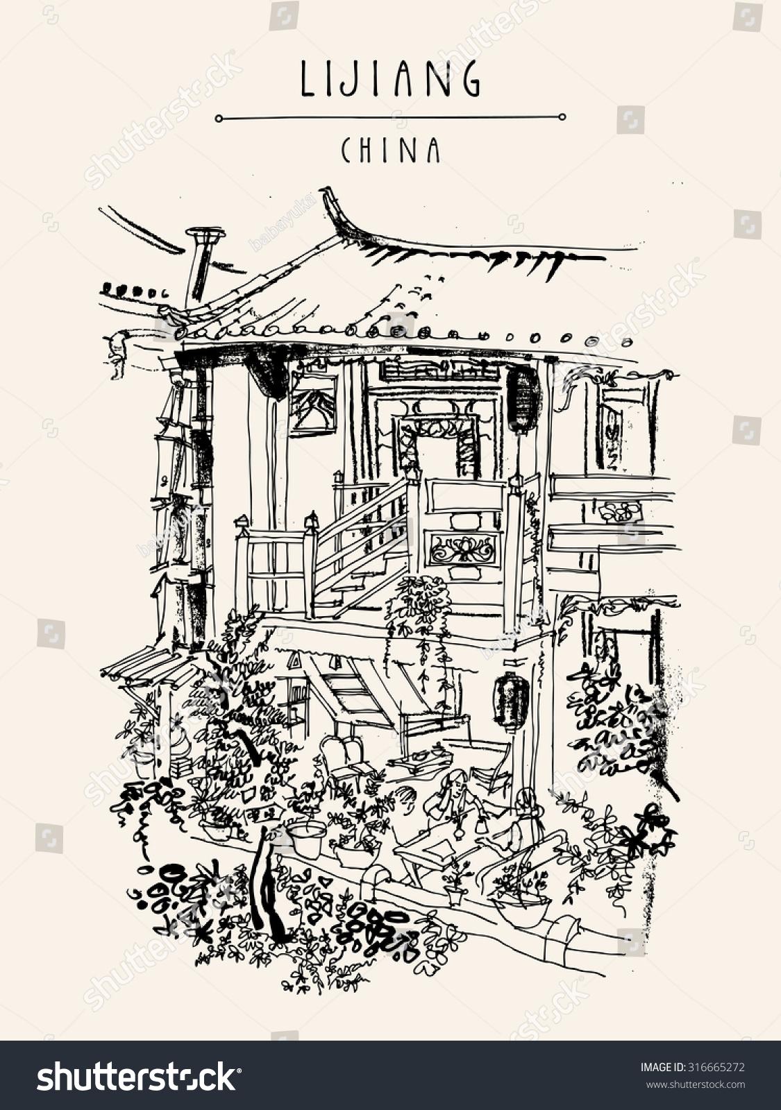 Traditional Chinese House Lijiang Yunnan China Stock