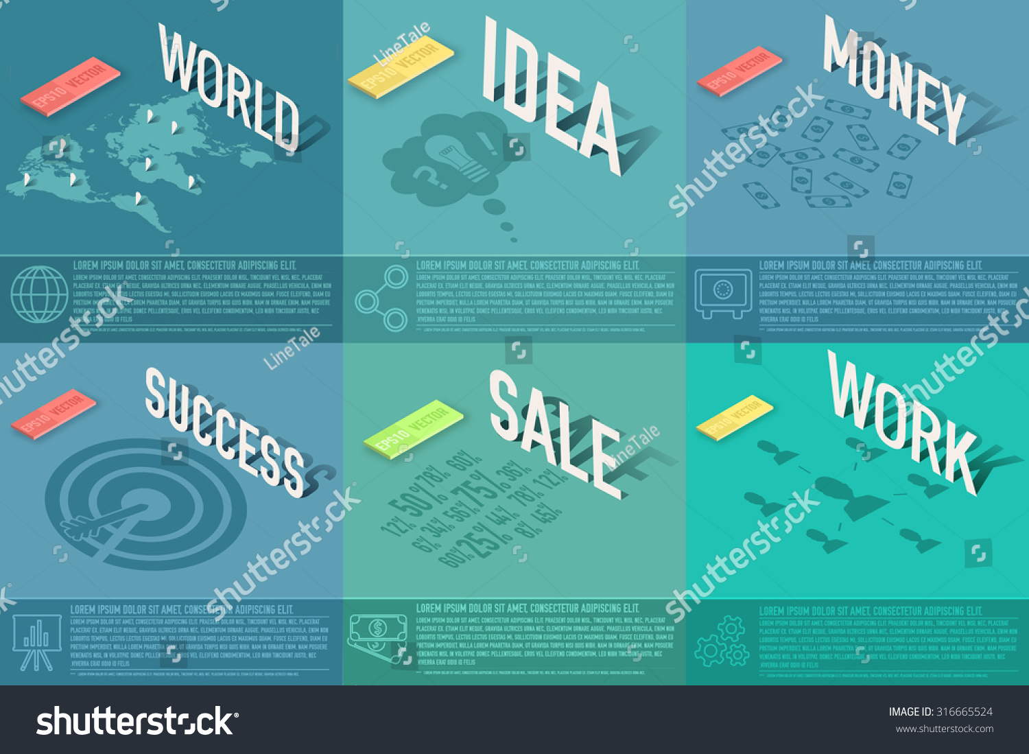 Set perspective world idea sale success stock vector 316665524 set of perspective world idea sale success work money business card magicingreecefo Images