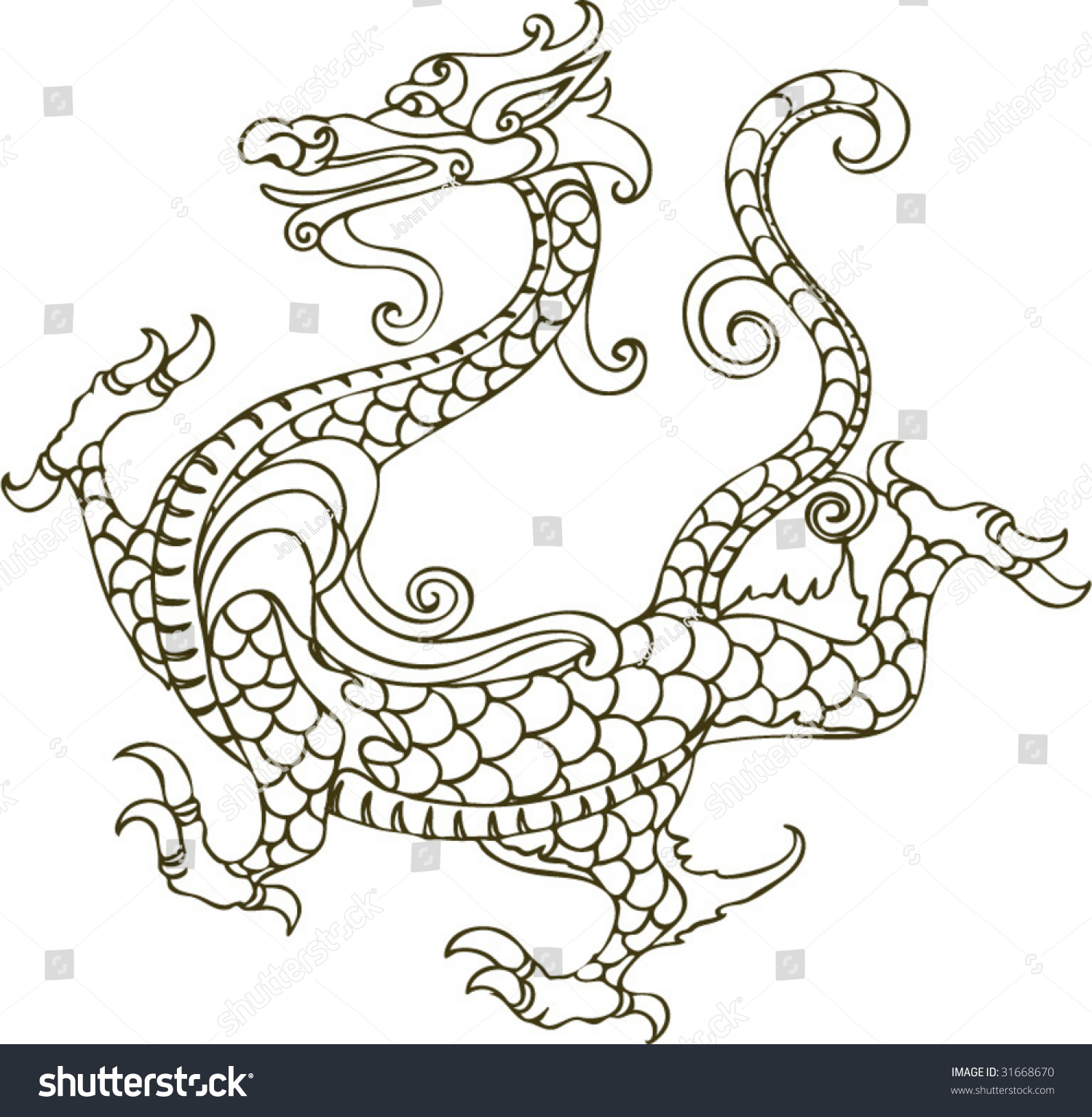 vector ancient chinese dragon pattern stock vector 31668670