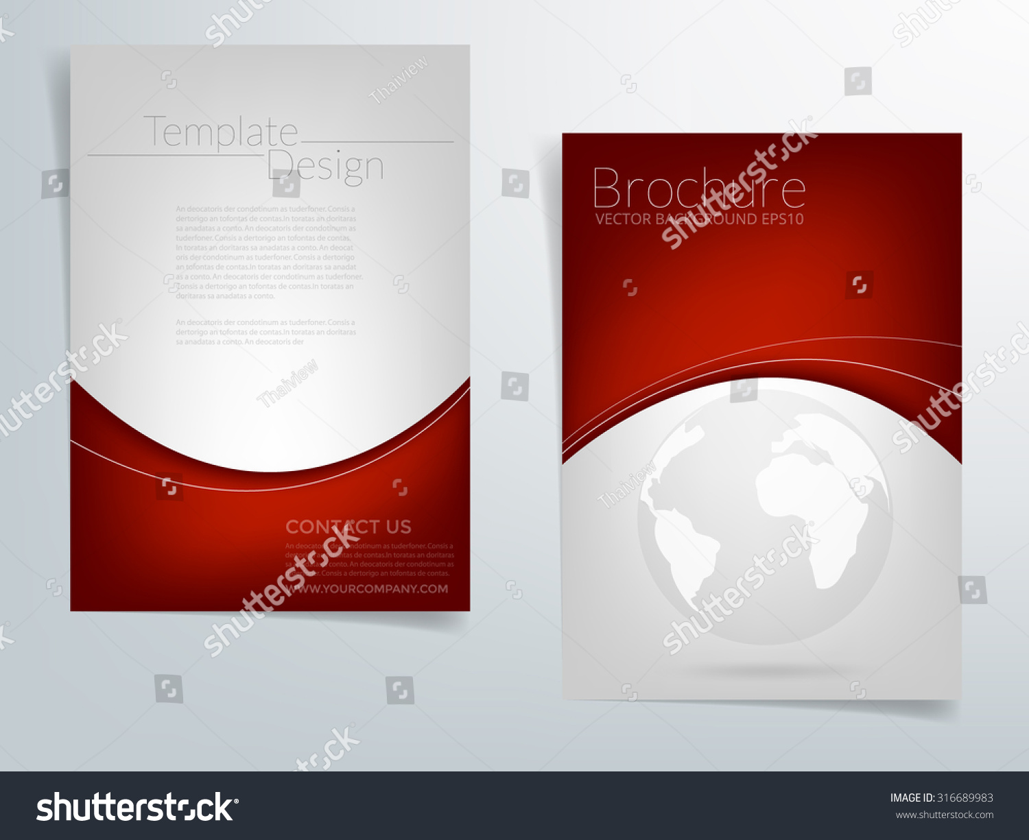 red brochure template - brochure background design red the