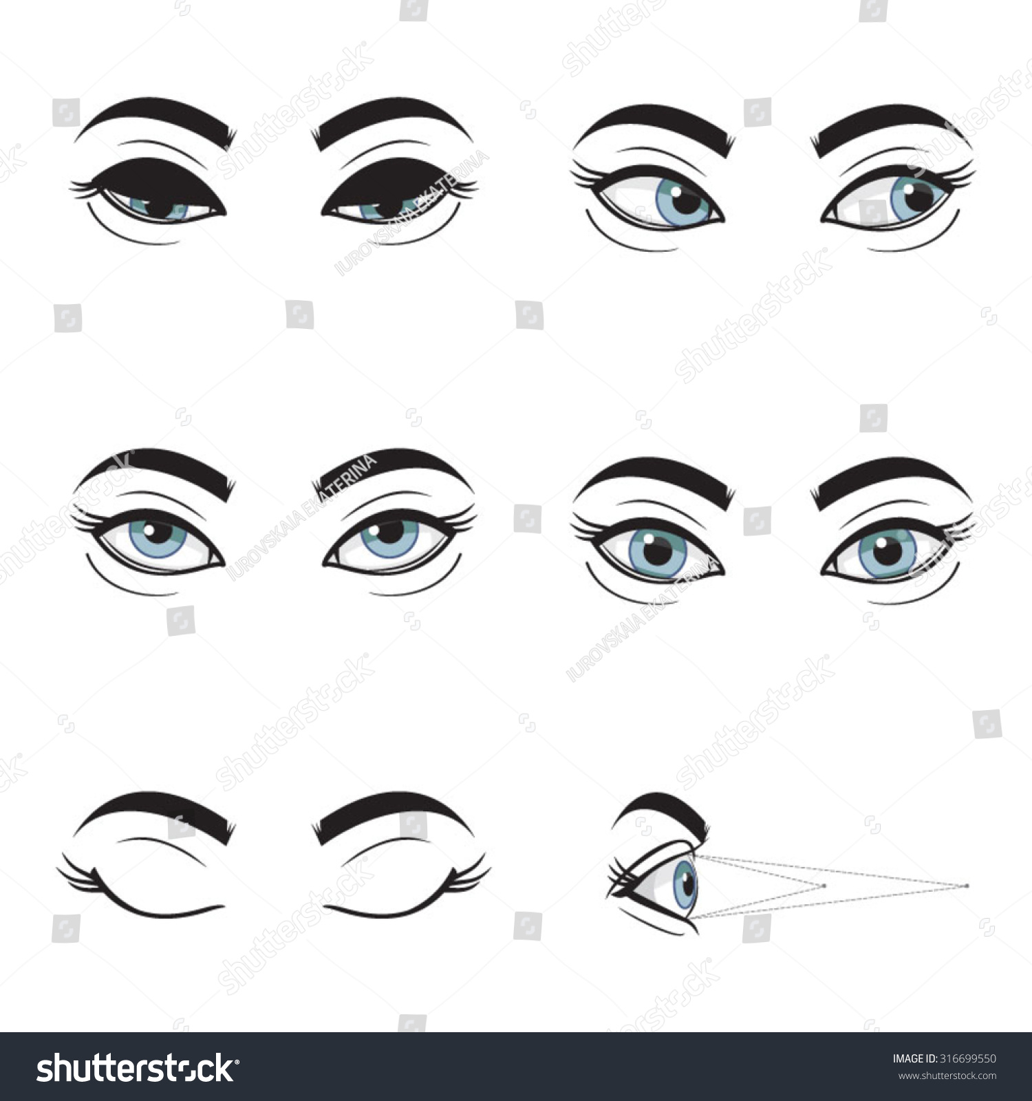 Set collection of blue female eyes and brows on white background different cartoon eye expressions