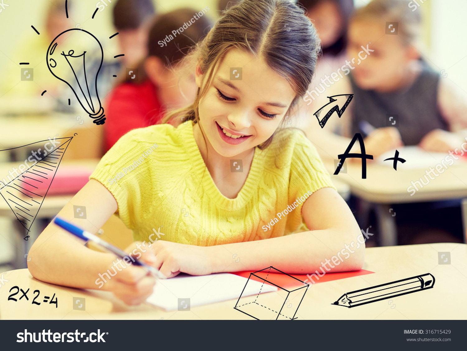 education elementary school learning and people concept group of school kids with notebooks writing test in classroom over doodles