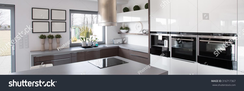 New technology kitchen equipment modern house stock photo for Modern house technology