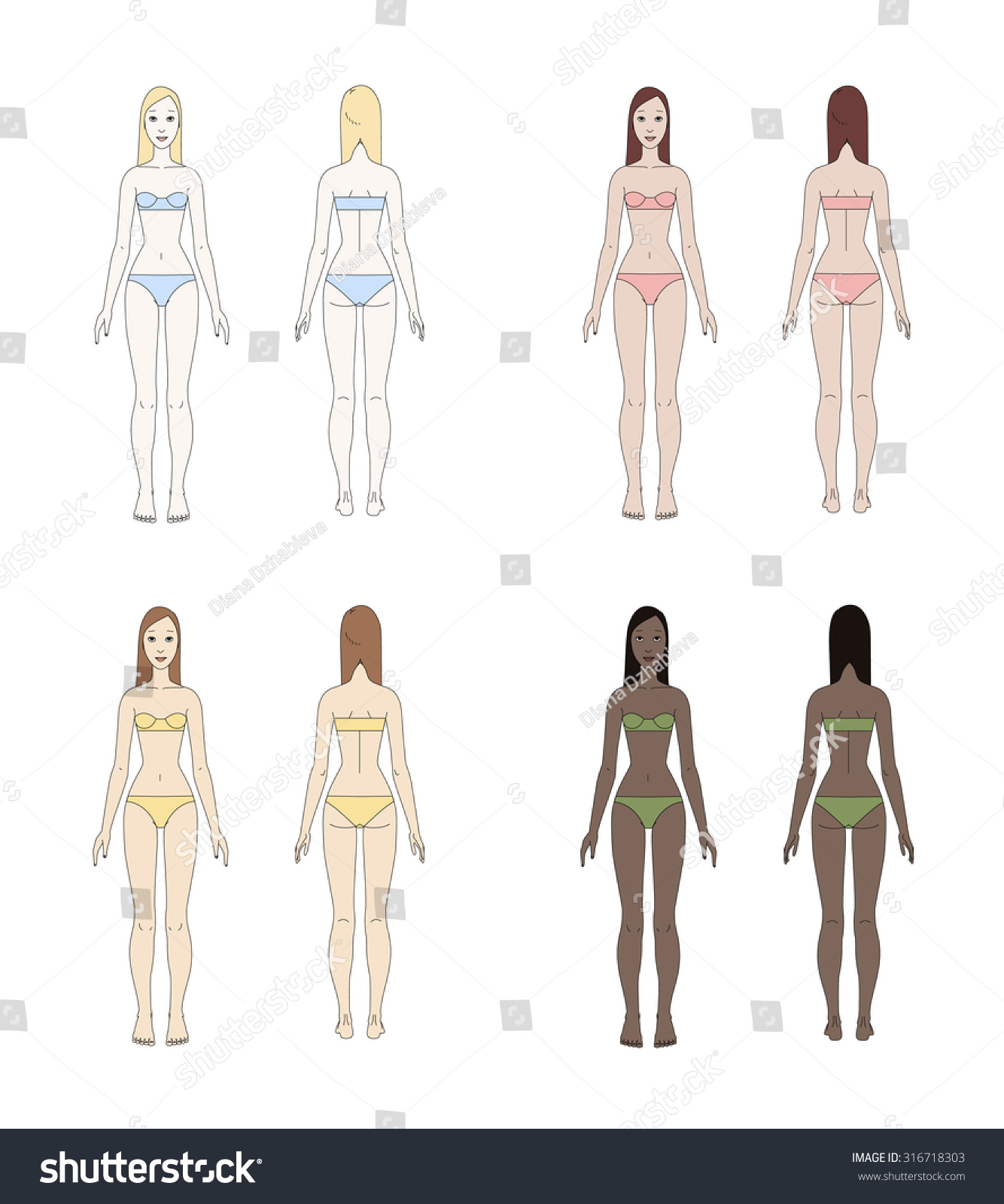 colorful vector set female body underwear stock vector royalty free