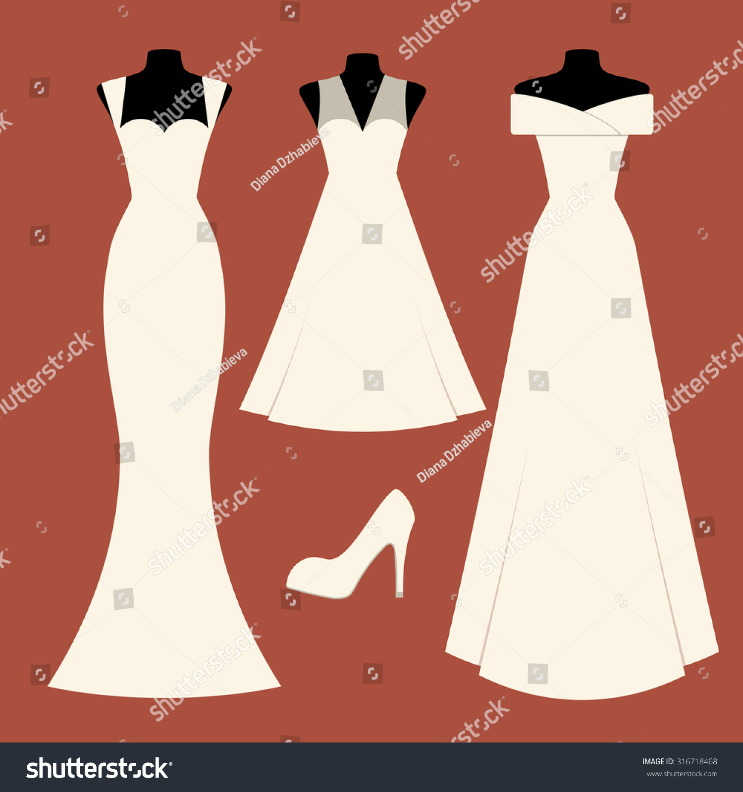 Colorful Vector Illustration Beautiful Bridal Dresses Stock Vector ...