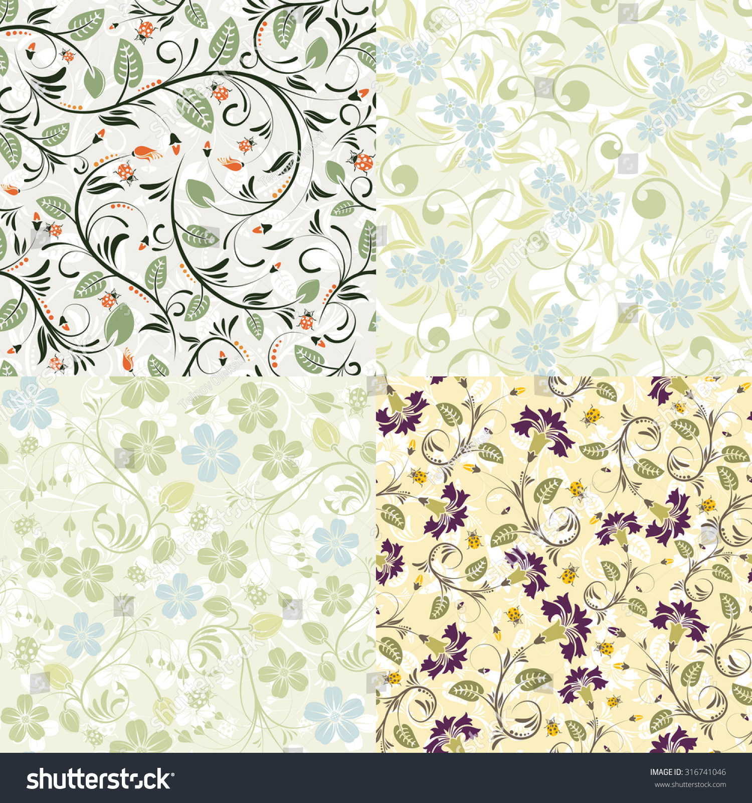 4 flower seamless patterns with ladybug vector template for cover