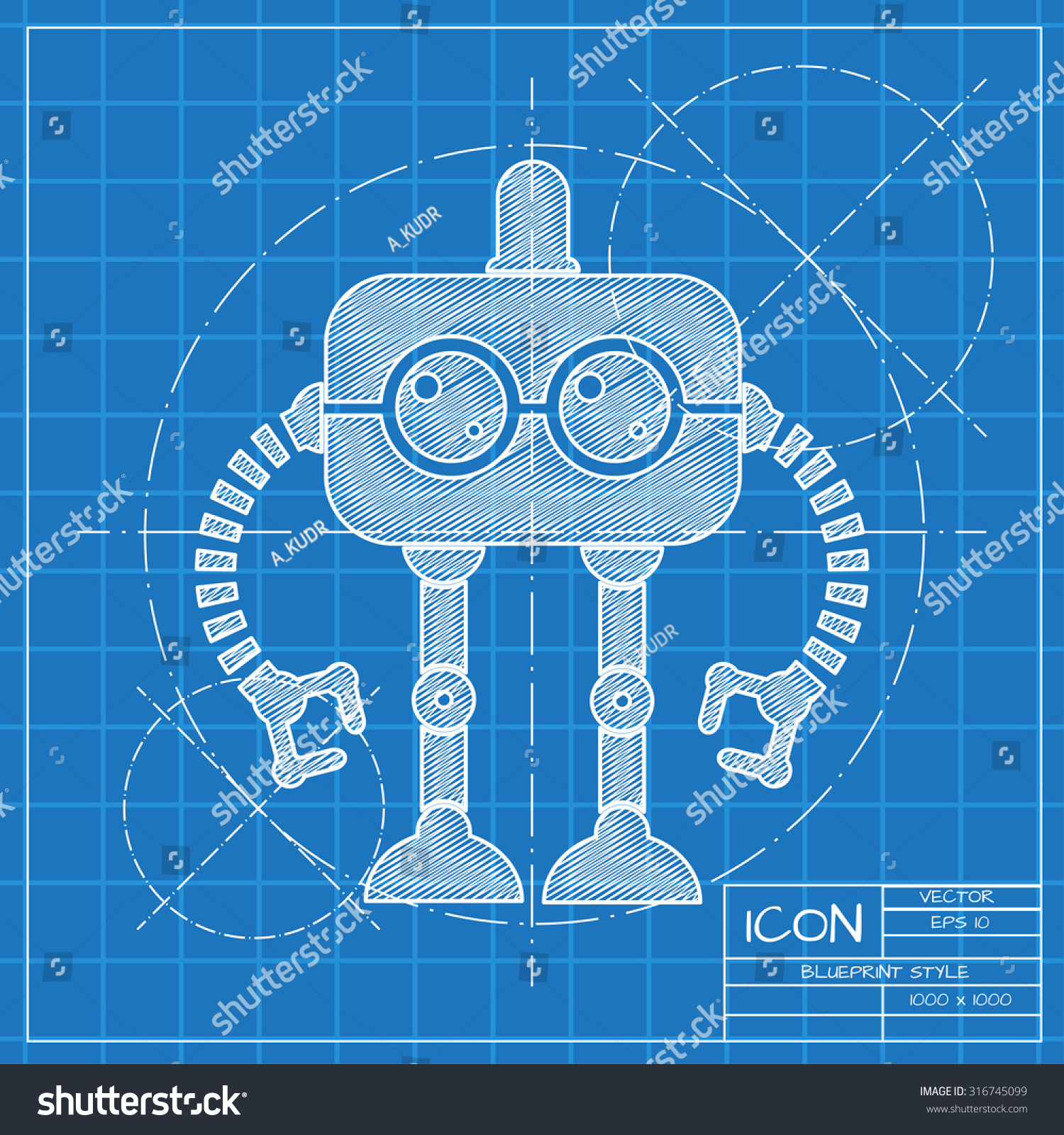 Vector blueprint retro robot toy icon stock vector 316745099 vector blueprint retro robot toy icon on engineer or architect background malvernweather Images