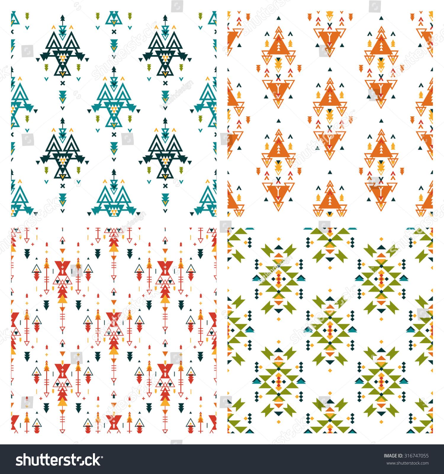 Kwc Ava Kitchen Faucet Set Of Ethnic Geometric Seamless Patterns Stock Vector