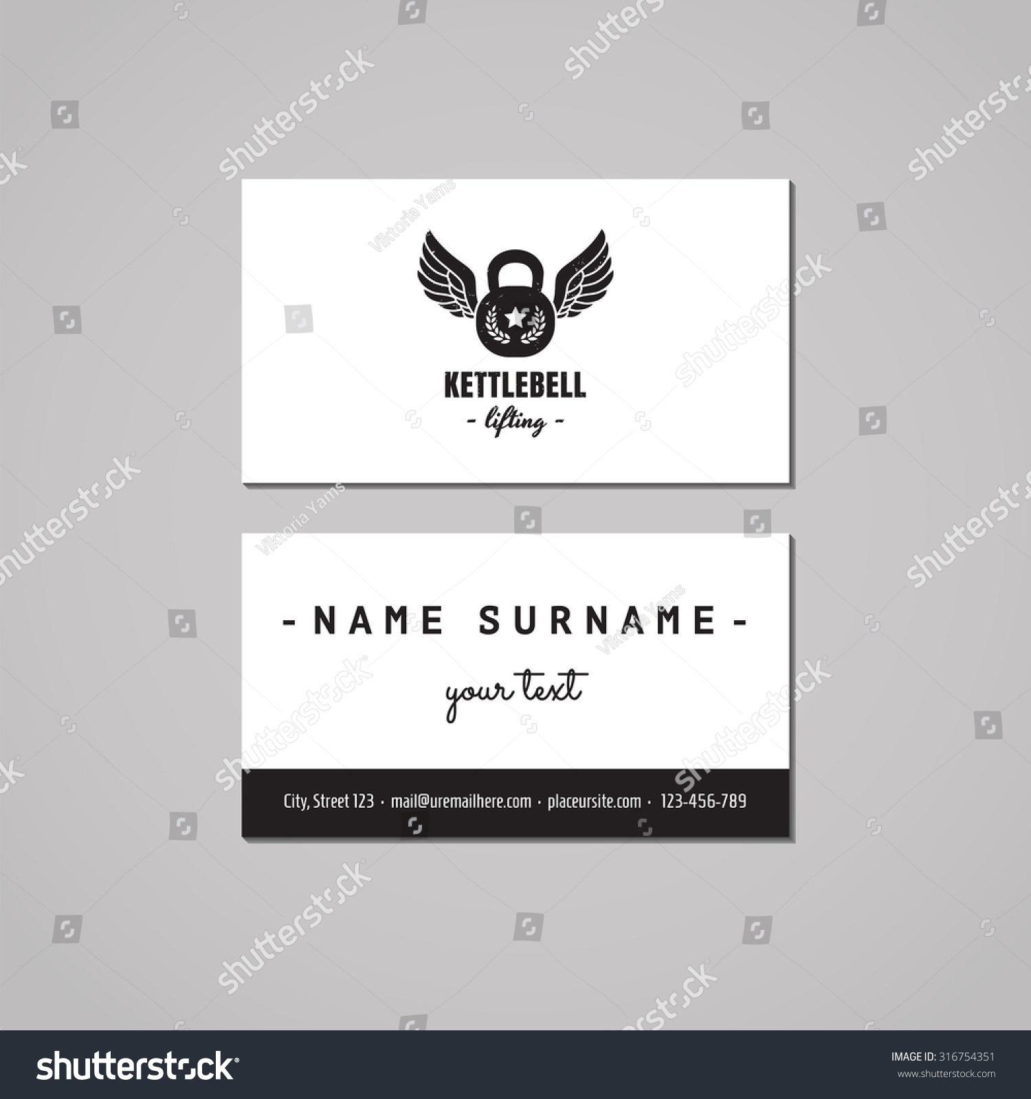Sport Fitness Vintage Business Card Design Stock Vector HD (Royalty ...