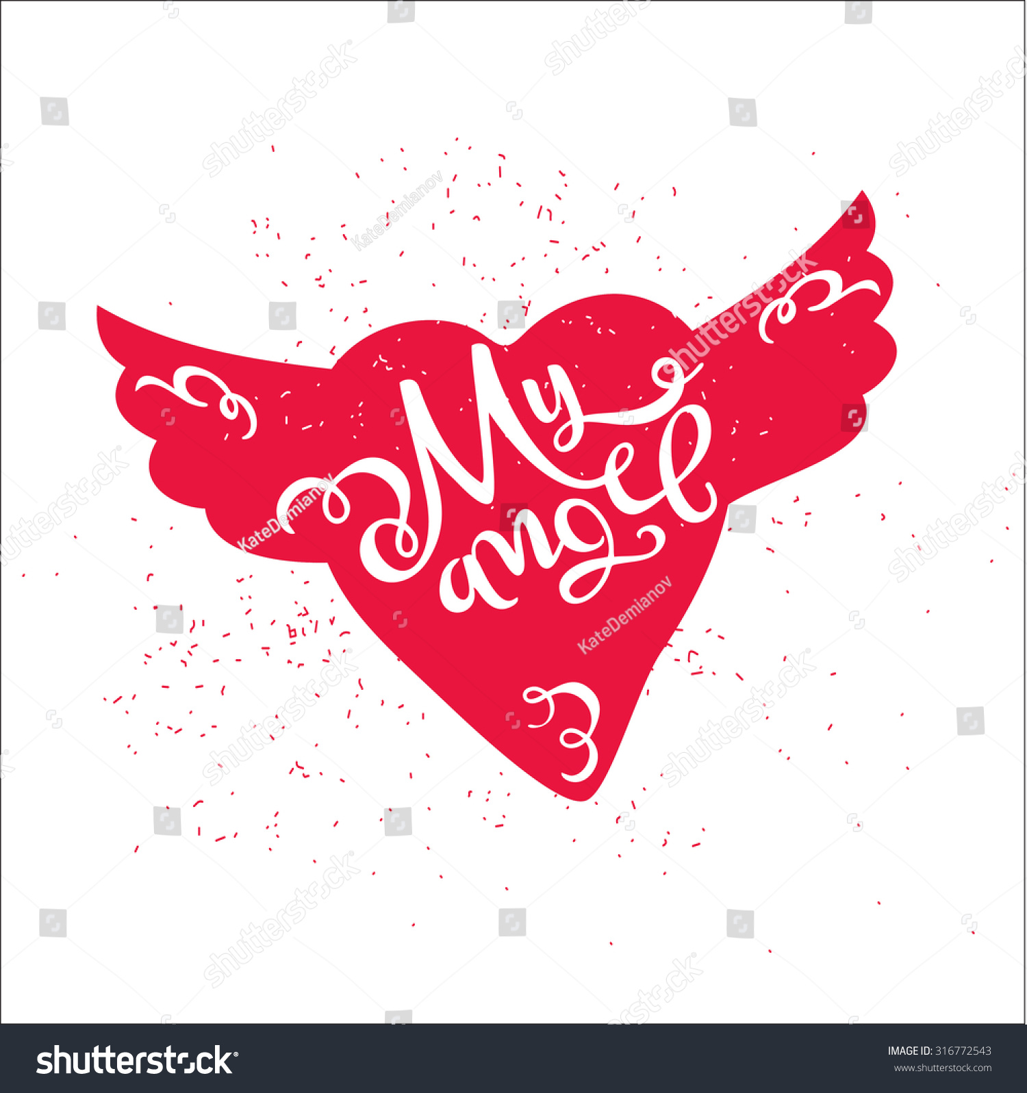 Dirty Cartoon Romantic Poster My Angel Stock Vector 316772543 ...