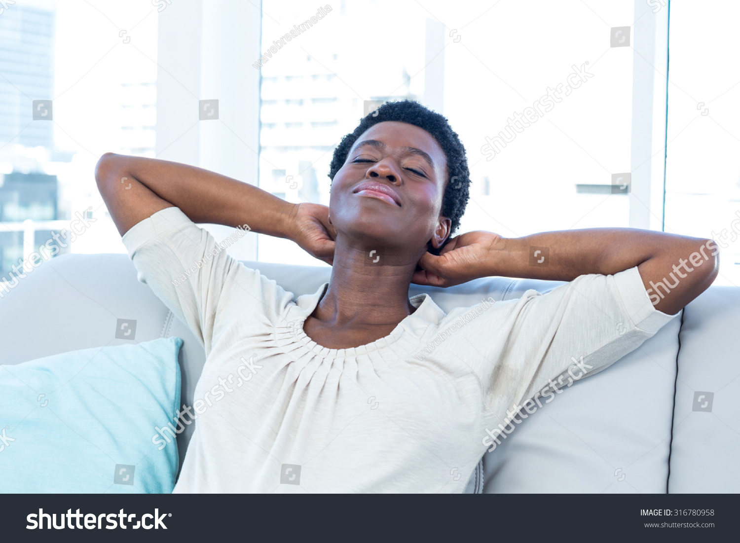 High Angle View Woman Relaxing Hands Stock Photo 316780958 ...  High Angle View...