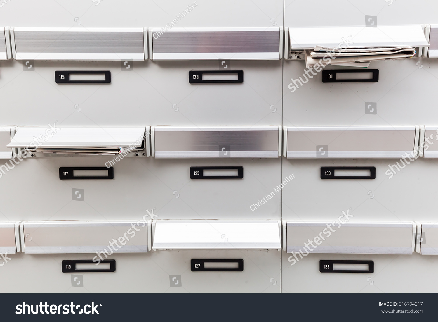 mailboxes of an apartment building stock photo 316794317