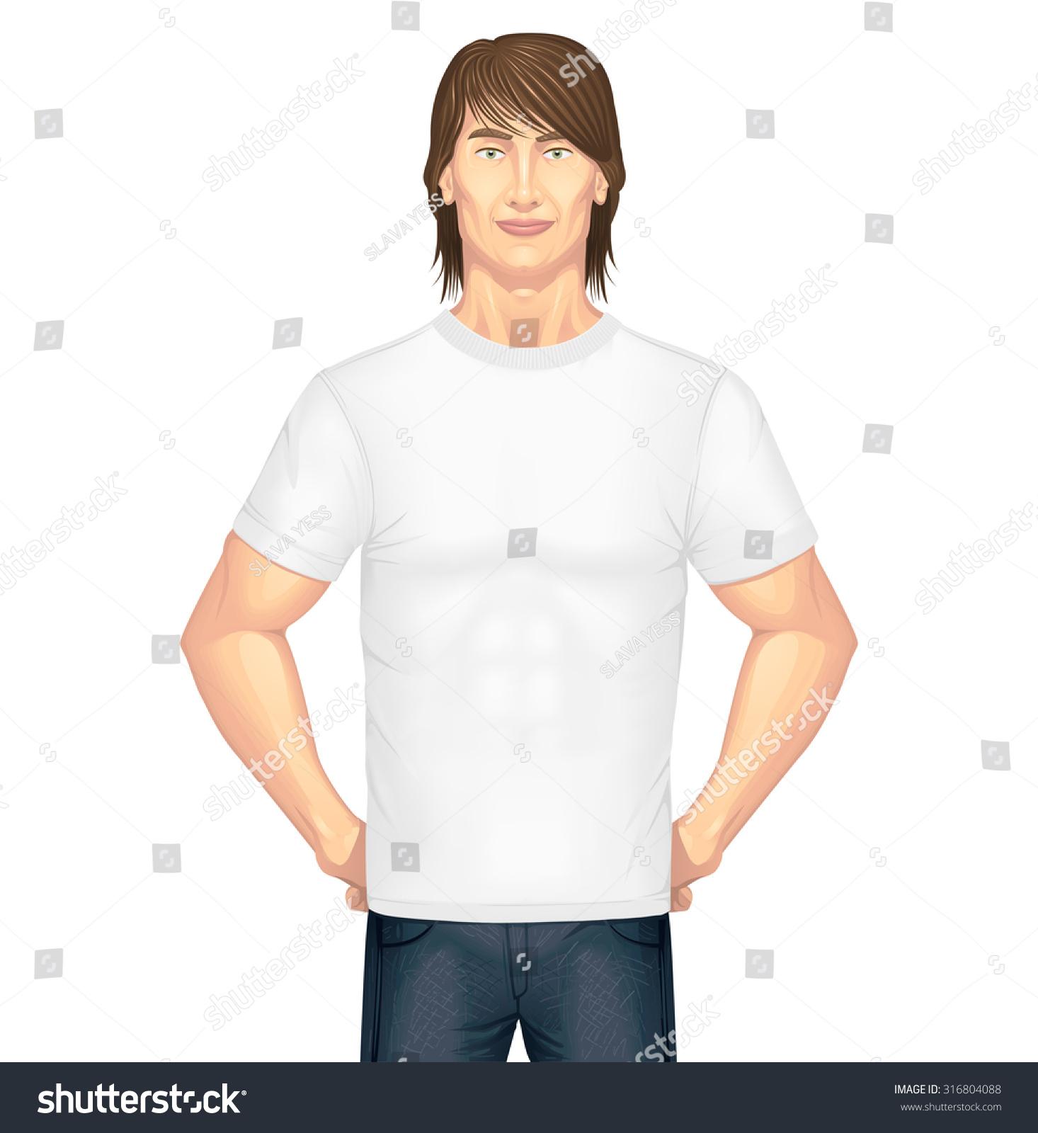 White tshirt on model vector stock vector 316804088 for Model white t shirt