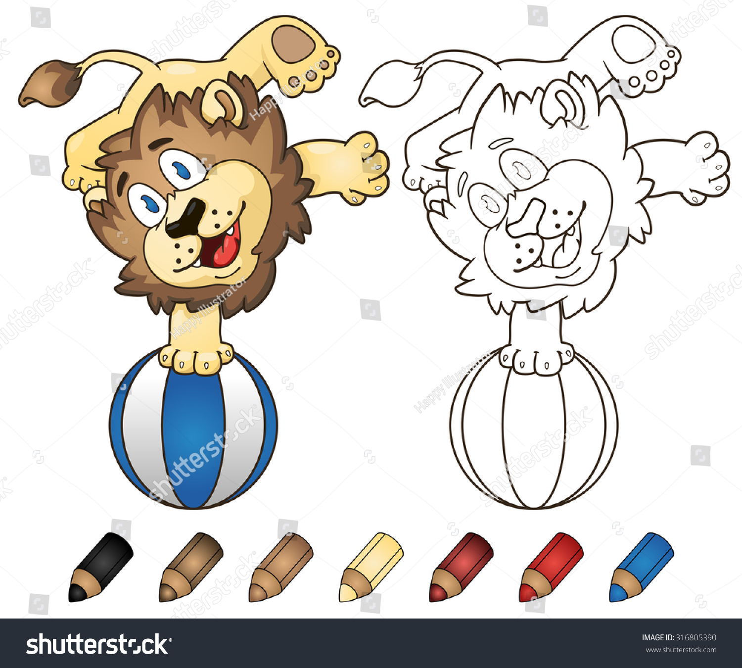 Happy Cartoon Lion Playing With A Beach Ball Vector Coloring Book Illustration