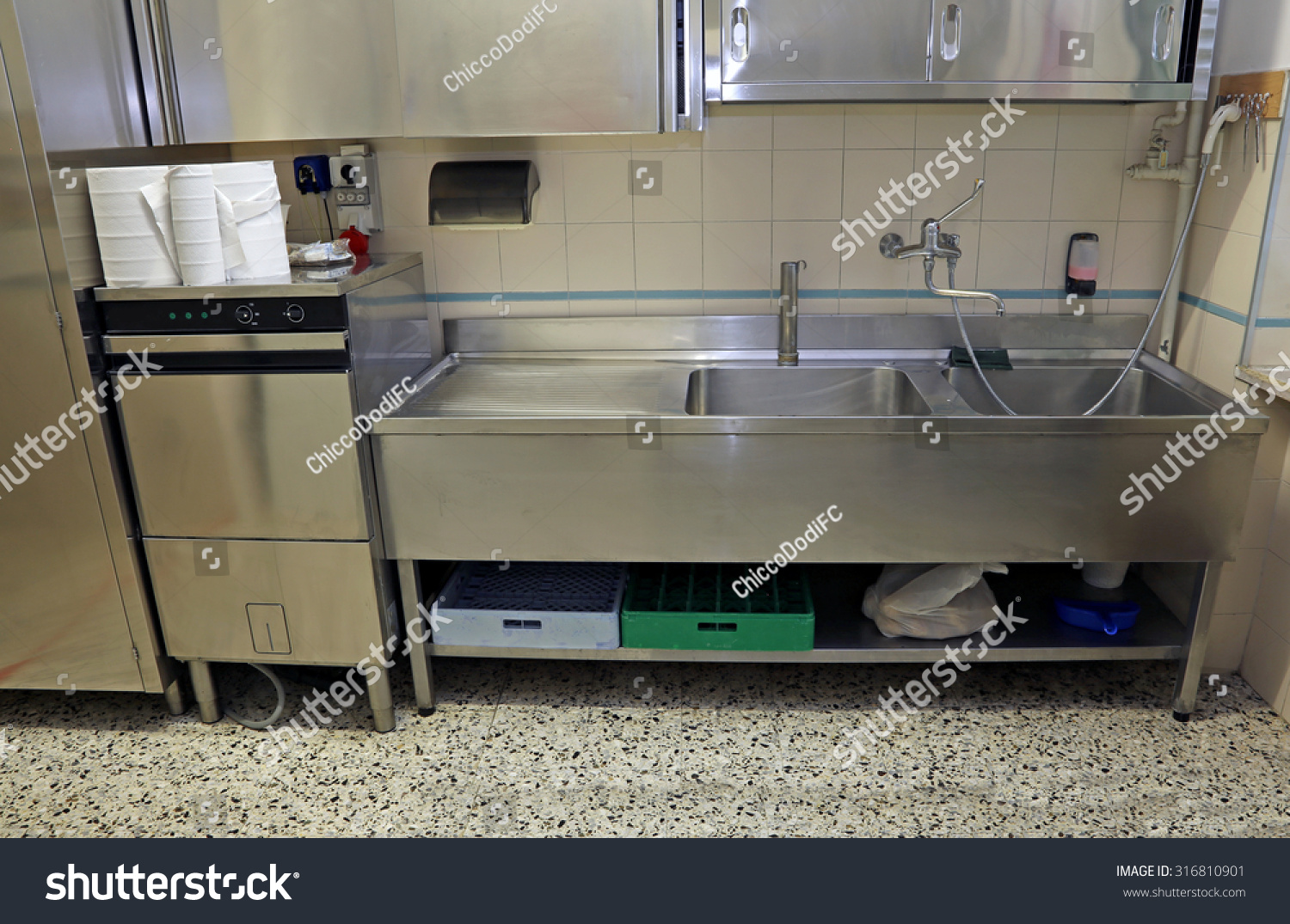 Large Stainless Steel Sink Industrial Kitchen Stock Photo (Edit Now ...
